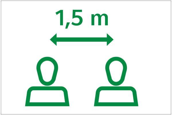 Grafik von zwei Menschen, die einen 1,5 Meter Abstand einhalten