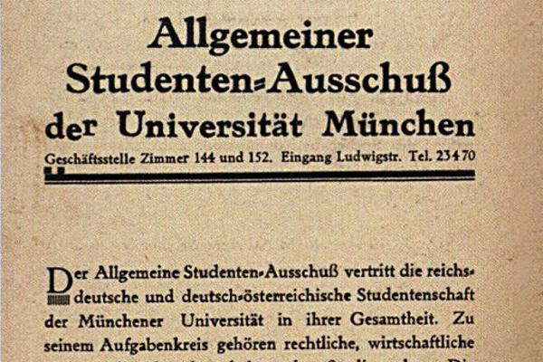 Text mit der Überschrift Allgemeiner Studenten-Ausschuß der Universität München
