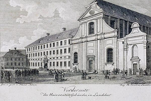 Historische Abbildung des dominikaner Klosters in Landshut