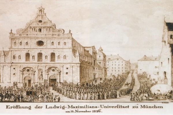 Historische Abbildung von der Eröffnung der LMU