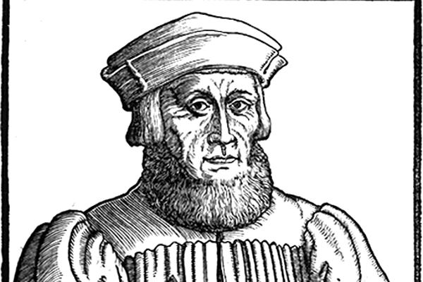 Historisches Gemälde von Johannes Aventinus wie er Notitzen in ein Buch schreibt