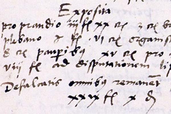 Abbild einer historischen Notitz in verschnörkelter Schrift