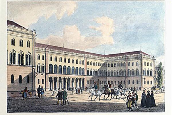 Historische Abbildung des LMU Hauptgebäudes.