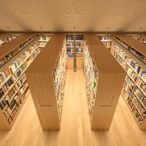 Blick auf hölzerne Bücherregale in der Bibliothek des Philologikums