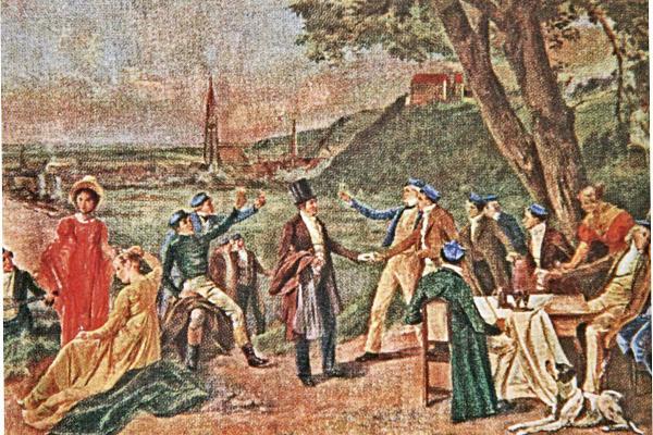 Historische Zeichnung diskutierender Menschen in der Öffentlichkeit