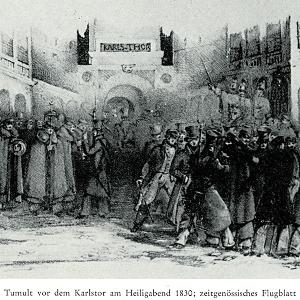 Historische Abbildung vom Tumult vor dem Karlstor