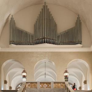 Innenansicht vom Lichthof des LMU Hauptgebäudes mit Orgel