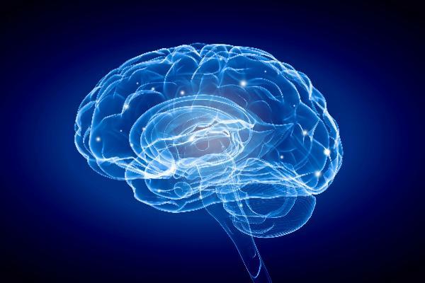 Grafik eines in blau leuchtenden Gehirns.