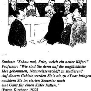 Eine Karikatur, auf der eine Frau abgebildet ist, die von Männern in einem Vorlesesaal umringt ist.