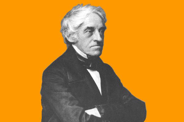 Schwarz-weiss Fotografie von LMU-Professor Carl Friedrich Philipp von Martius vor orangem Hintergrund.