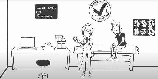 Grafik eines kranken Studenten bei einer Ärztin und der Aufschrift Gesundheitskarte - Approved