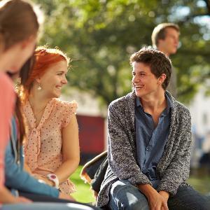 Studierende sitzen auf einer Wiese und unterhalten sich.