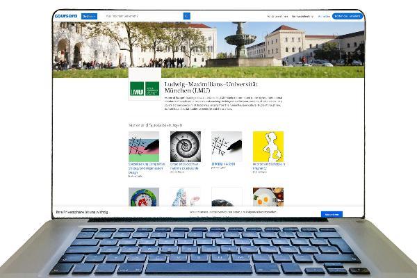 Computerbildschirm mit Website der Massive Open Online Courses, einem Lehrprogramm der LMU