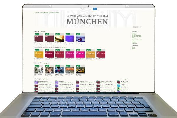 Bildschirm mit Inhalten aus LMU on iTunesU