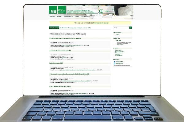 Computerbildschirm mit Inhalt aus VideoOnline, einem Lehrprogramm der LMU