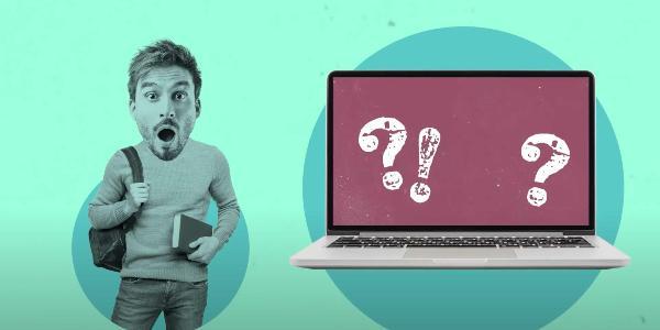 Grafik eines Studenten und eines Laptops mit Frage- und Ausrufezeichen darauf