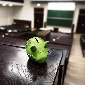 A piggy bank in the lecture room