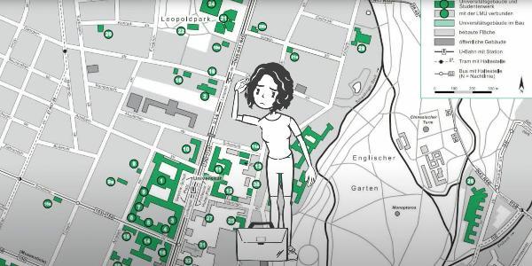 Grafik eines Stadtplans mit den markierten Servicestellen für Studierende der LMU