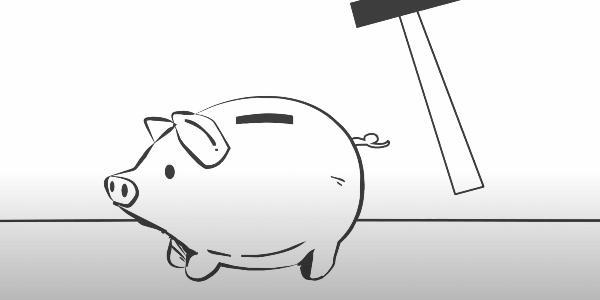 Grafik eines Sparschweins und eines Hammers