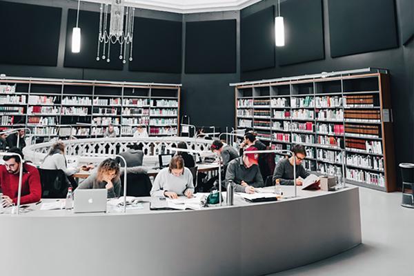 Studierende lernen in der Bibliothek