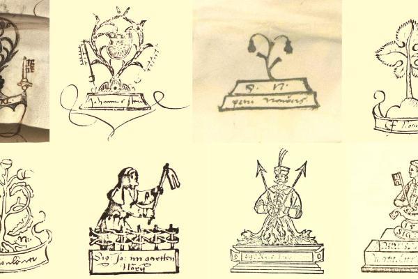 Zu sehen sind acht historische Notarsignets