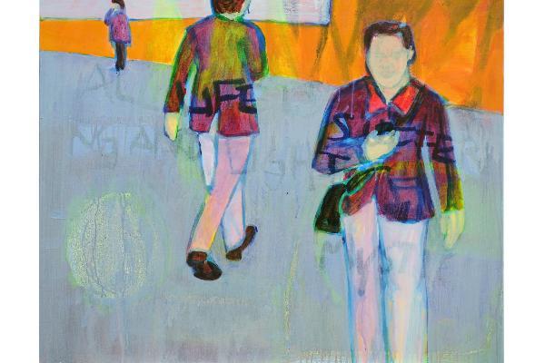 Acrylbild von Johanna Gundula Eder: zu sehen sind im Vordergrund zwei männliche Personen sowie im Hintergrund eine weibliche Person