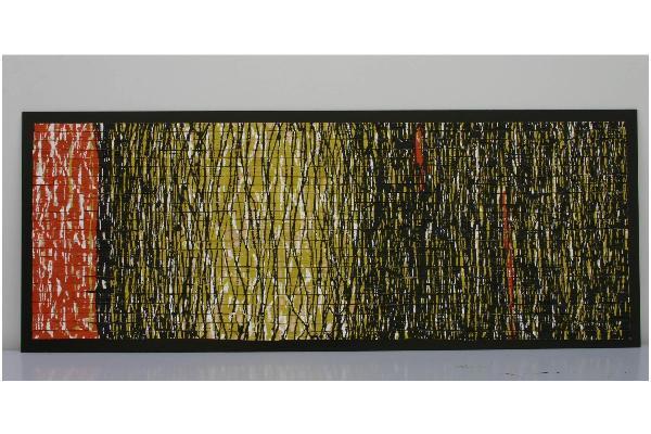 """Arbeit aus Palettenholz, HDF und Acryllack von Willi Ernst Seitz mit dem Titel """"Lichtung"""" aus dem Jahr 2009 (48 x 124 cm)"""