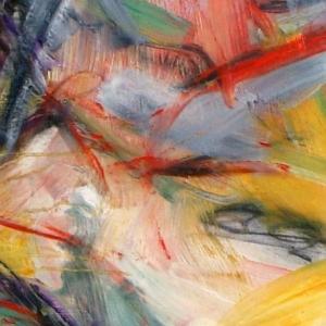 Abstrakte bunte Farbstriche und Flächen. Ausschnitt aus einem Bild von Sven Kalb