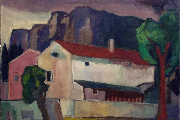 Richard Walberer: Häuser vor Jurafelssteilwand (Öl auf Leinwand, 60 x 80 cm). Eigentum der LMU: Kunstinventar Nr. 0059