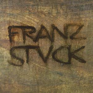 Signatur von Franz Stuck auf einem Gemälde aus dem historischen Kunstbestand der LMU