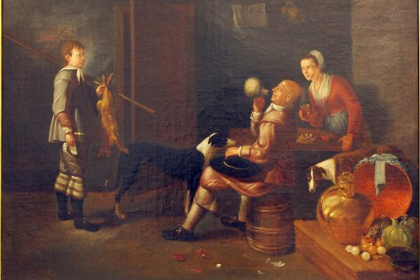 Unbekannter Künstler: Trinkszene im niederländischen Stil (Öl auf Leinwand, 71 x 91 cm). Eigentum der LMU: Kunstinventar Nr. 0062 © Edith Hüttenhofer (LMU)