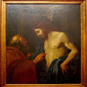 Unbekannter Künstler: Ungläubiger Thomas mit Christus nach Simone Cantarini (Öl auf Leinwand, 154,5 x 137,5 cm). Eigentum der LMU: Kunstinventar Nr. 0007