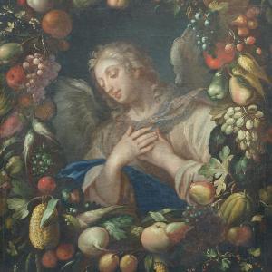 Gaspar Pieter Verbruggen d.J. (Zuschreibung): Der Erzengel Gabriel als Halbfigur in einem üppigen Blumenkranz (Öl auf Leinwand, 132x102 cm). Eigentum der LMU: Kunstinventar Nr. 0155