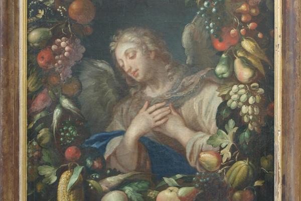 Gaspar Pieter Verbruggen d.J. (Zuschreibung): Der Erzengel Gabriel als Halbfigur in einem üppigen Blumenkranz (Öl auf Leinwand, 132 x 102 cm). Eigentum der LMU: Kunstinventar Nr. 0115