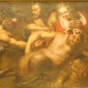 Ernst Jordan: Bacchanalien mit einem trunkenen Silen (Öl auf Leinwand, 113,3x135 cm). Eigentum der LMU: Kunstinventar Nr. 0019