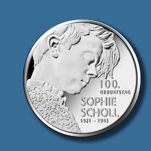 """20-Euro-Sammlermünze """"100. Geburtstag Sophie Scholl"""", Vorder- und Rückseite"""