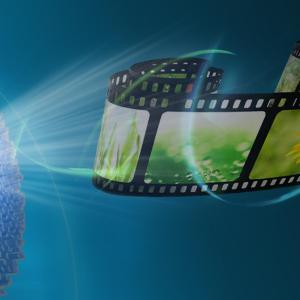 Illustration einer Twisted-Light-Metaoberfläche zur Anzeige eines holografischen Videos.