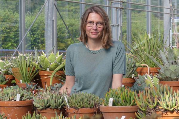 Porträtfoto der LMU-Professorin Gudrun Kadereit in einem der Gewächshäuser des Botanischen Gartens in München.