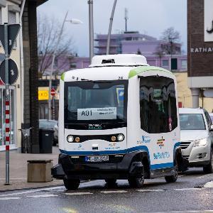 Autonomous bus, in Monheim, Rhine