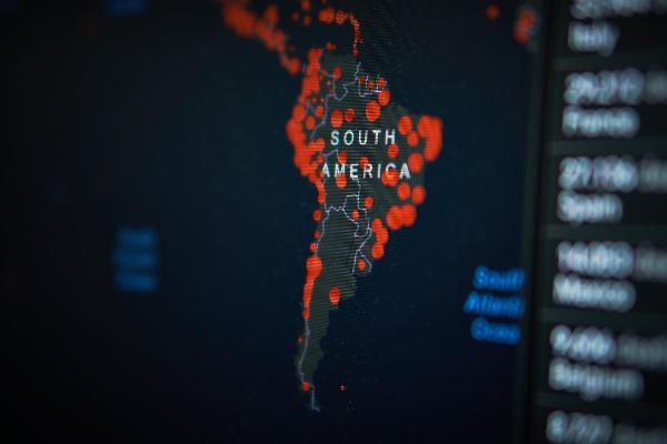 Covid-19 Dashboard from Johns Hopkins University, Corona Virus World Map on PC screen - South America
