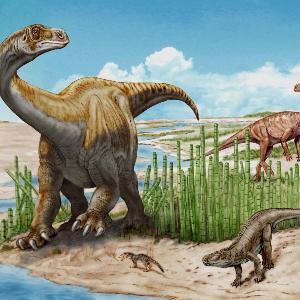 Illustration: Die neue Gattung Schleitheimiamit anderen Sauriern
